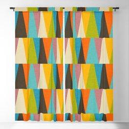 Retro Color Block Triangle Color Fun Blackout Curtain