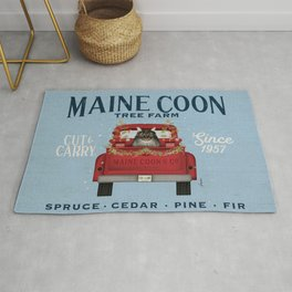 Maine Coon Cat Christmas Tree Farm Vintage Red Truck  Rug