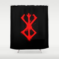 berserk Shower Curtains featuring Cursed Mark by CaptainSunshine
