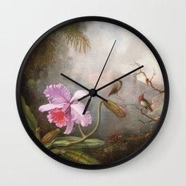 Martin Johnson Heade - Cattleya Orchid With Two Hummingbirds Wall Clock