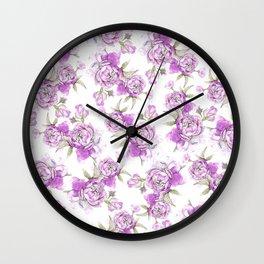 Elegant lavender lilac pink hand painted watercolor peonies Wall Clock
