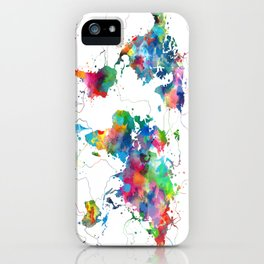 world map watercolor collage iPhone Case