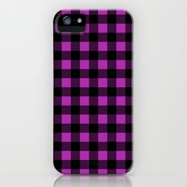 Plaid (Black & Purple Pattern) iPhone Case