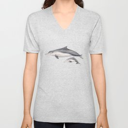 Australian humpback dolphin (Sousa sahulensis) with baby Unisex V-Neck