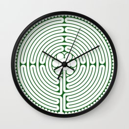 Cathedral of Our Lady of Chartres Labyrinth - Green Wall Clock
