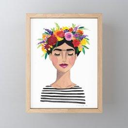 Floral Frida - Black & White Framed Mini Art Print