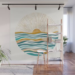 The Sun and The Sea - Gold and Teal Wall Mural