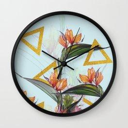 Floral Gold Triangle #society6 #buyart #homedecor Wall Clock