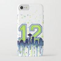 seahawks iPhone & iPod Cases featuring Hawks 12th Man Fan Art by Olechka
