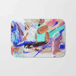 multi-colored painting, contemporary art. acrylic paint, abstract texture hand drawn. blue gray purp Bath Mat