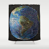 earth Shower Curtains featuring Earth  by 2sweet4words Designs