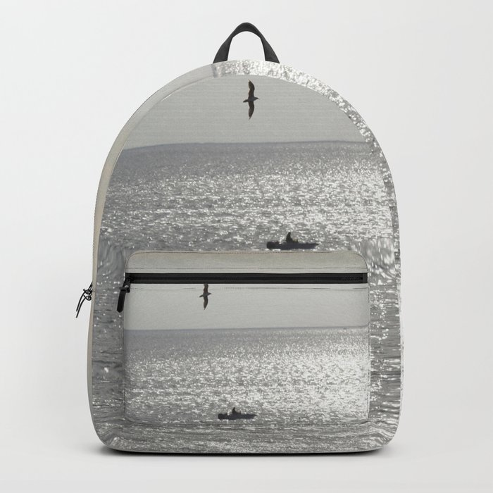 Silver sea boat and seagull seascape Backpack