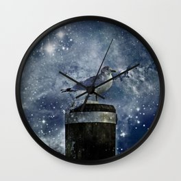 One Legged Seagull in a Snowstorm with Stars in His Eyes Wall Clock