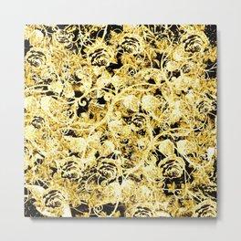 Gold Rosevines on Black Metal Print