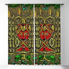 leather lady among spring flowers Blackout Curtain