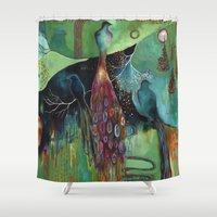 "flora bowley Shower Curtains featuring ""Light Trio"" Original Painting by Flora Bowley by Flora Bowley"
