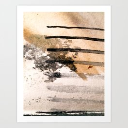 Desert Musings - a watercolor and ink abstract in gray, brown, and black Art Print