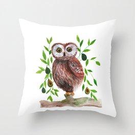 Owl with avocado illustration Throw Pillow