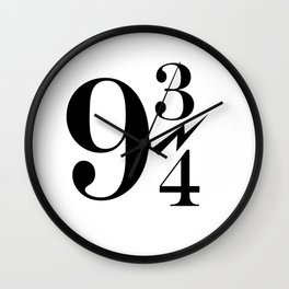 9 3/4 nine and three-quarters King's Cross Platform Train Station Harry Hogwarts Wall Clock