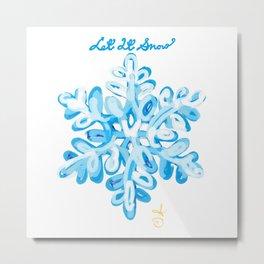 Let It Snow Snowflake Painting Metal Print