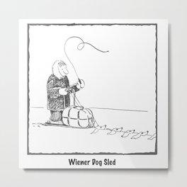 Wiener Dog Sled Metal Print