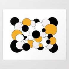 Bubbles - orange, black, gray and white Art Print