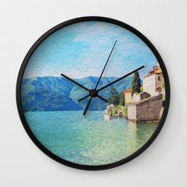Lago di Como in watercolor Wall Clock