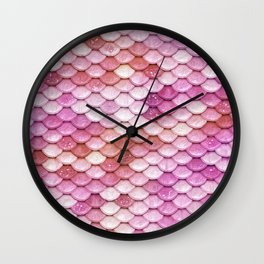 Multicolor pink mermaid glitter scales - Mermaidscales Wall Clock
