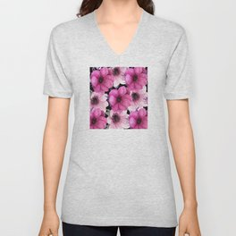 Elegant Floral Pageantry in Pretty Pink Pattern Unisex V-Neck