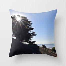 Sun, sky and rail. Throw Pillow