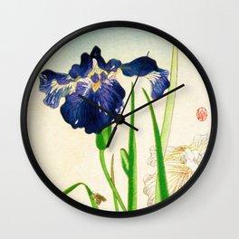 Blue Iris Japanese Watercolor Print Wall Clock