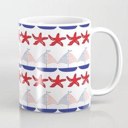 Nautical Pattern Small Sailboats and Starfishes Coffee Mug