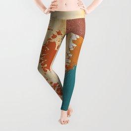 Rustic Orange Teal Abstract Leggings