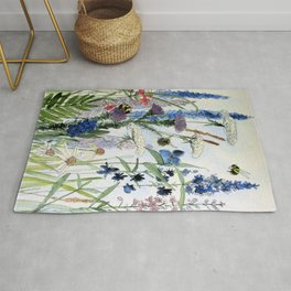 Wildflower in Garden Watercolor Flower Illustration Painting Rug
