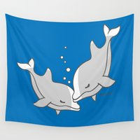 dolphins Wall Tapestries featuring Dolphins by joanfriends