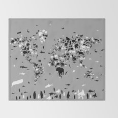 world map animals black and white Throw Blanket