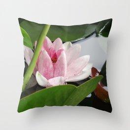 Beautiful White Pink Lotus Throw Pillow