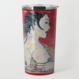 PORTRAIT OF A LADY EXPOSING HER TITS Travel Mug
