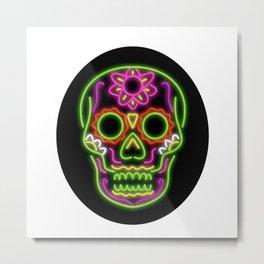 Sugar Skull Oval Neon Sign Metal Print