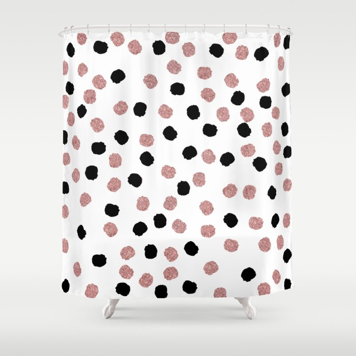 Modern Rose Gold Black Abstract Brush Polka Dots Shower Curtain