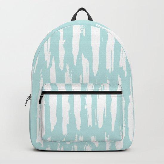 Vertical Dash Stripes White on Succulent Blue Backpack