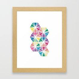 Geometric Honeycomb Bright Rainbow Pattern Framed Art Print