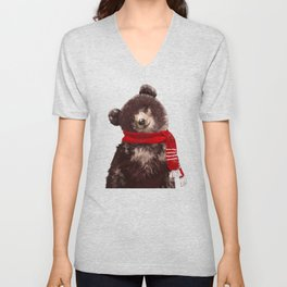 Baby bear in Christmas Mood Unisex V-Neck