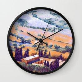 Snow falling on Tuscany Wall Clock