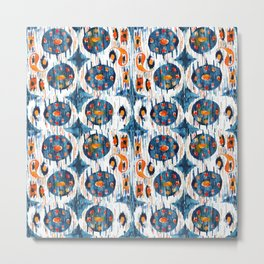 blue circle balinese ikat print mini Metal Print