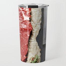 vintage cleaver and raw beef steak on dark background Travel Mug