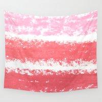 lipstick Wall Tapestries featuring Lipstick Stripes by Nicole Davis