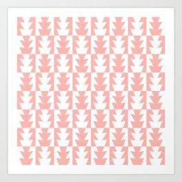 Art Deco Jagged Edge Pattern Peach Art Print