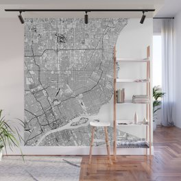 Detroit White Map Wall Mural