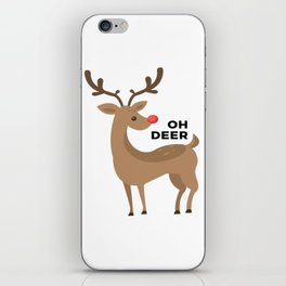 Oh Dear Rudolph Red Nosed Reindeer Funny Design iPhone Skin